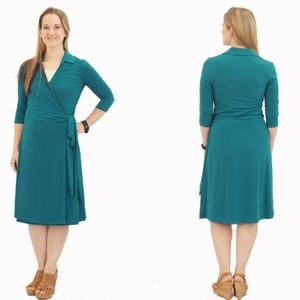 NEW Solid Wrap Dress - Teal